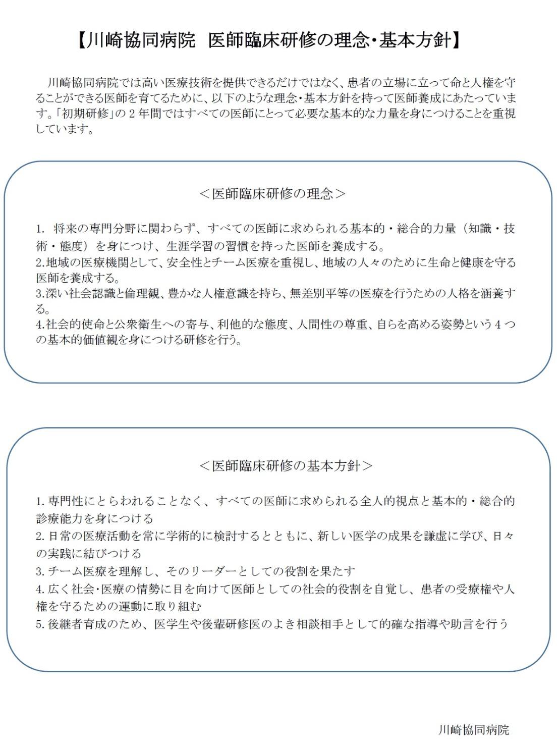 川崎協同病院医師臨床の理念・基本方針